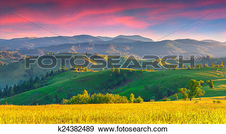 Stock Photograph of Colorful summer sunrise in the Carpathian.