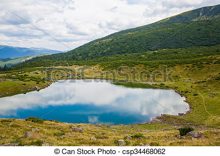 Stock Illustration of Carpathian mountain lake.