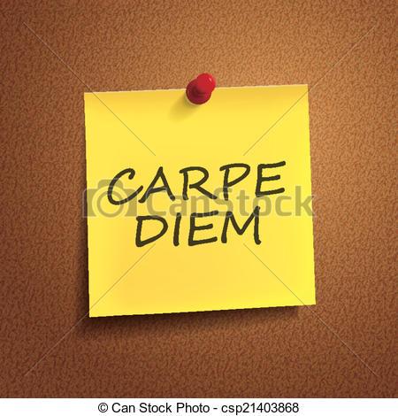 Clip Art Vector of carpe diem words on post.
