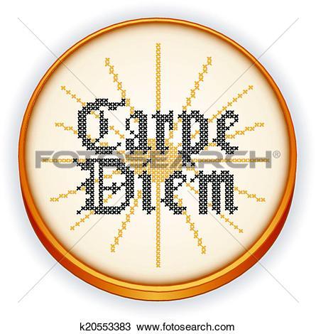 Clipart of Carpe Diem retro Embroidery Hoop k20553383.