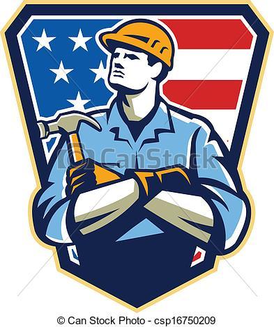Vector Illustration of Builder Carpenter Hammer Shield Retro.