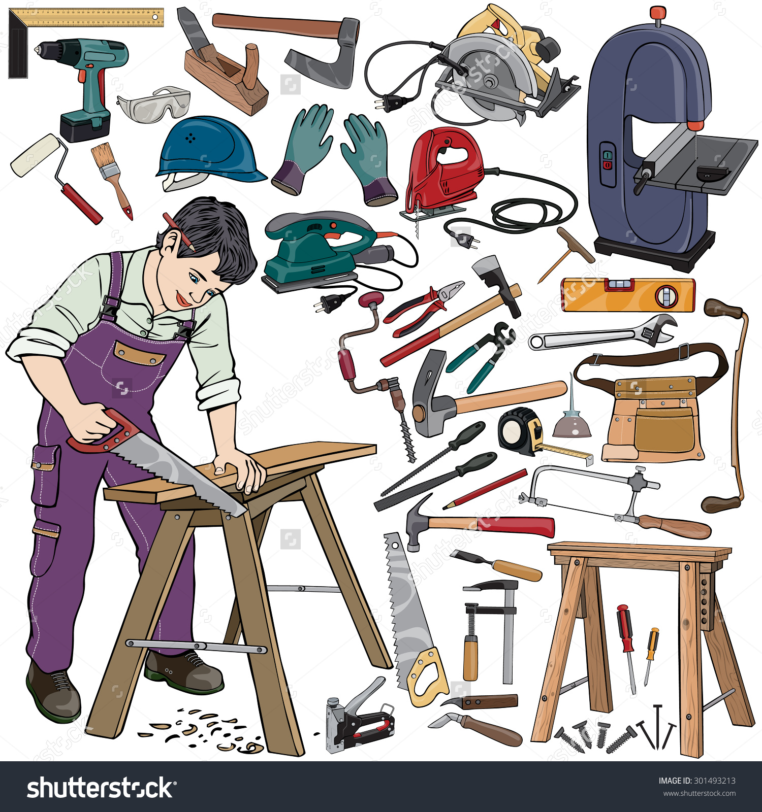 Vector Illustration Carpenter Gear Cartoon Concept Stock Vector.