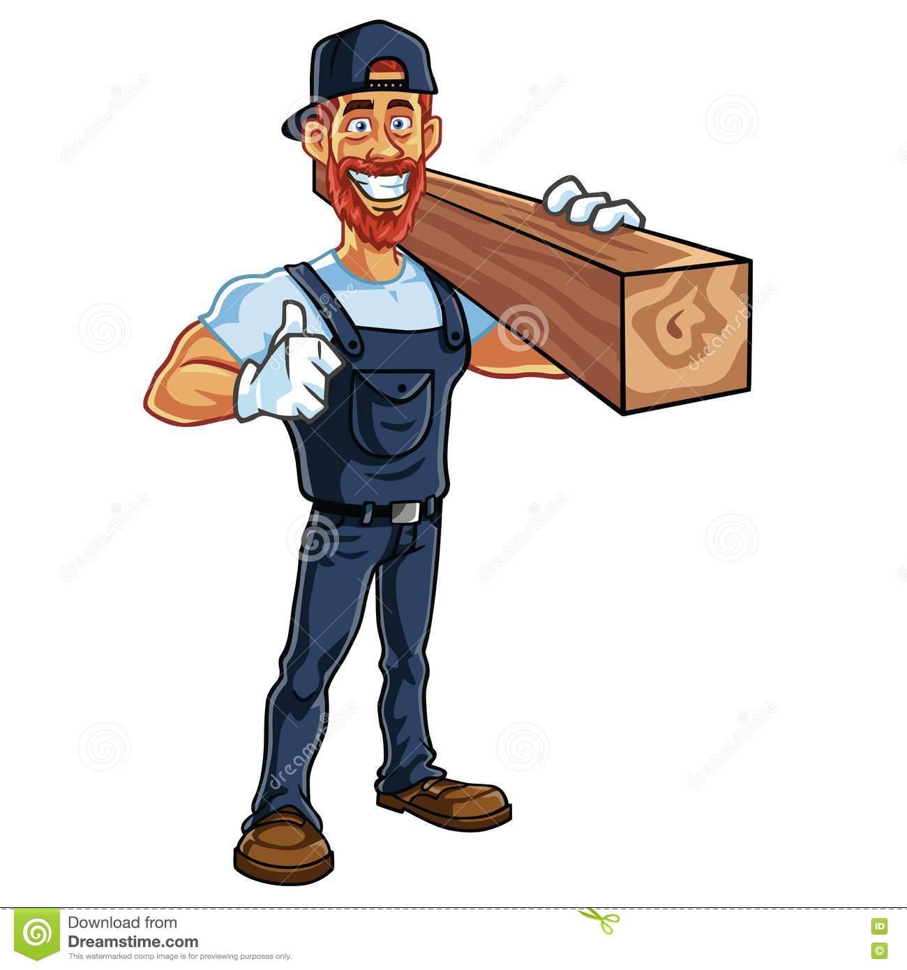 Carpenter Cartoon Mascot Vector Stock Vector.