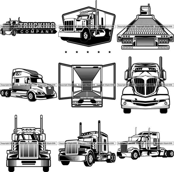 9 Truck Driver Tractor Trailer Top Selling Designs Trucking Shipping BUNDLE  ClipArt SVG.