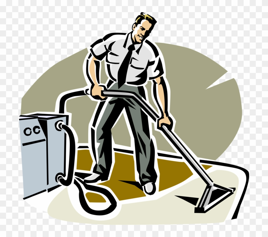 Vector Illustration Of Carpet Cleaner Uses Steam Cleaning.