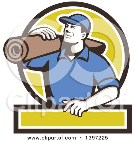 Clipart of a Retro Male Carpet Layer Carrying a Roll in a Black.