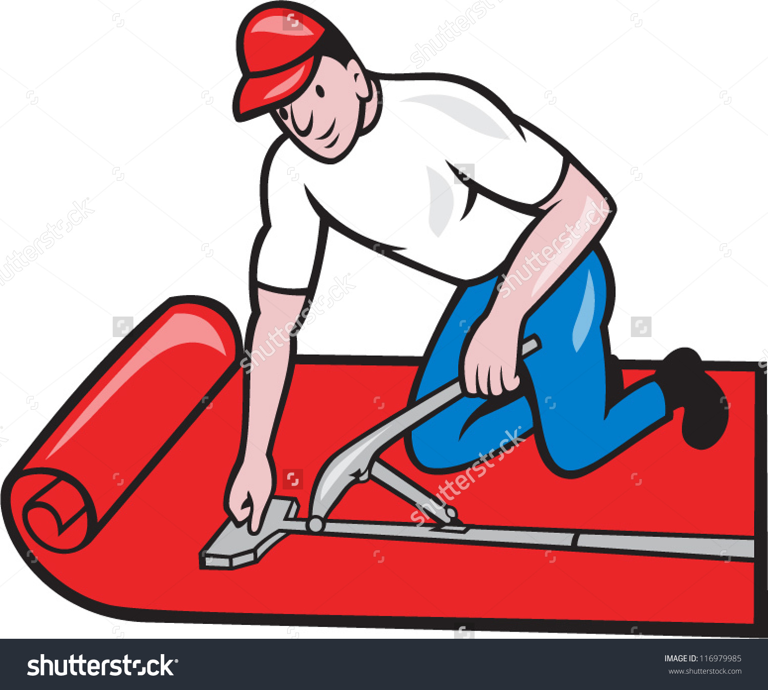 Carpet Laying Clipart.