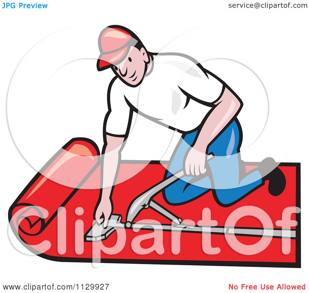 Clipart Cartoon Of A Retro Carpet Layer Worker.