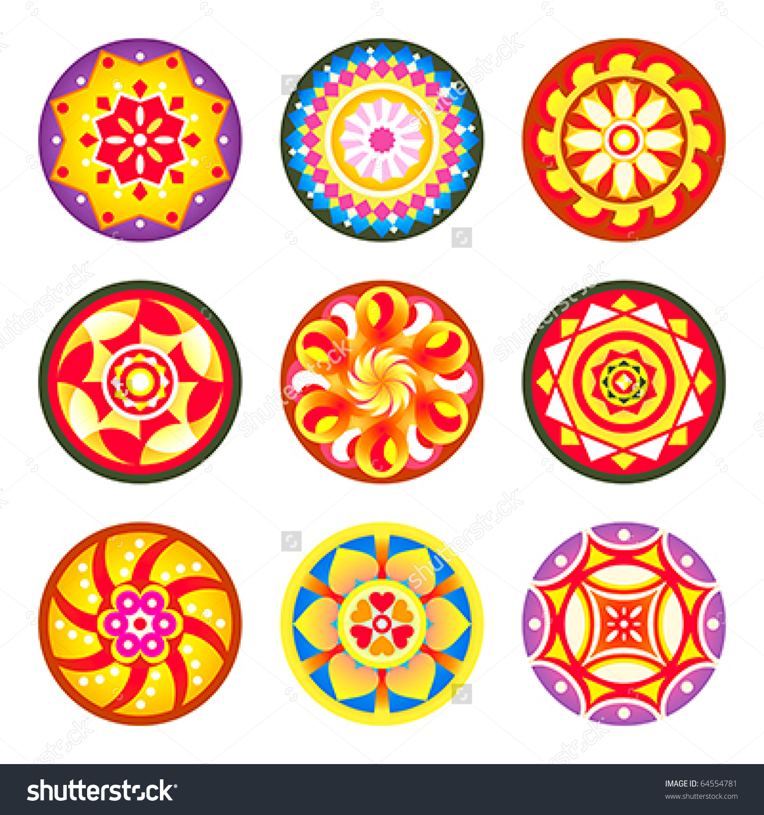 Indian Flower Carpet Patterns Pookalams Onam Stock Vector 64554781.