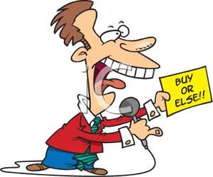Cartoon of a Desperate Salesman.
