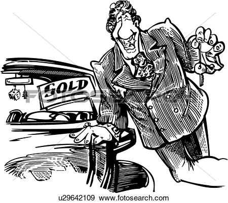 Clip Art of , trade, auto, sign, elements, people, sale, salesman.