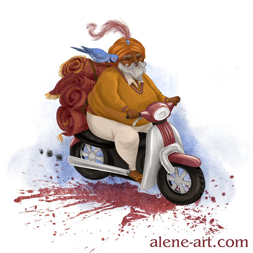 Alene Illustration: Flying Carpet Salesman.