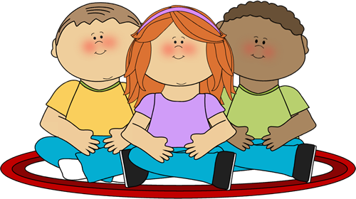 Kids Sitting on School Rug Clip Art.