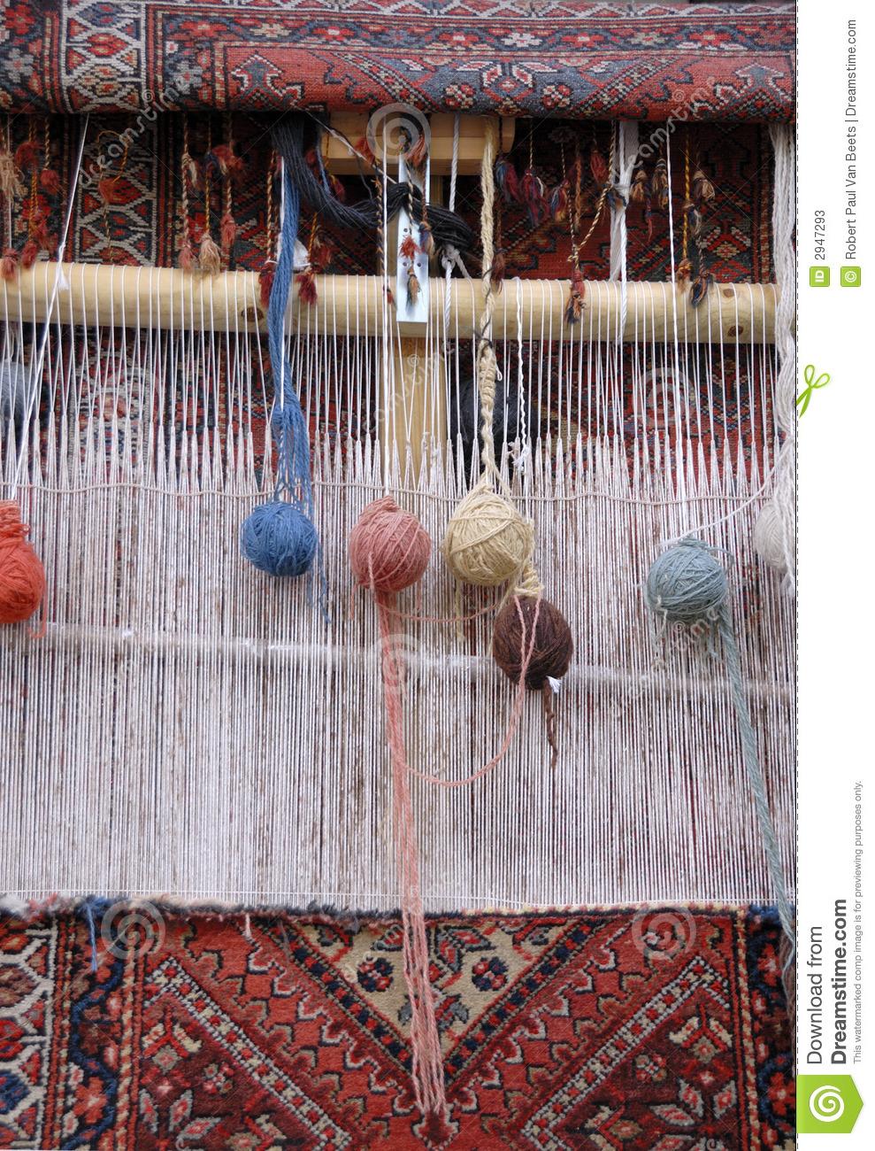 Carpet Weaving Loom Stock Photos.
