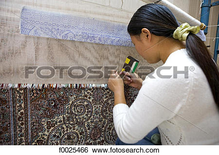 Stock Images of China, Beijing, craft center, traditional carpet.