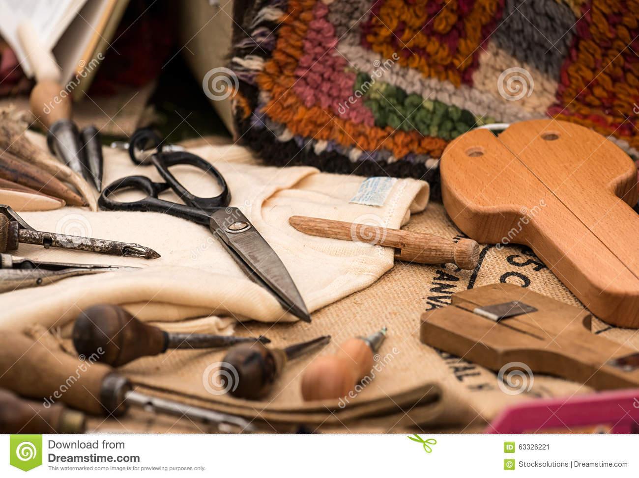 Carpet Weaving Tools Stock Photo.