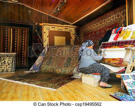 Stock Image of Carpet weaving.