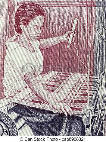 Stock Photography of Carpet Weaving on 100 Riels 1973 Banknote.