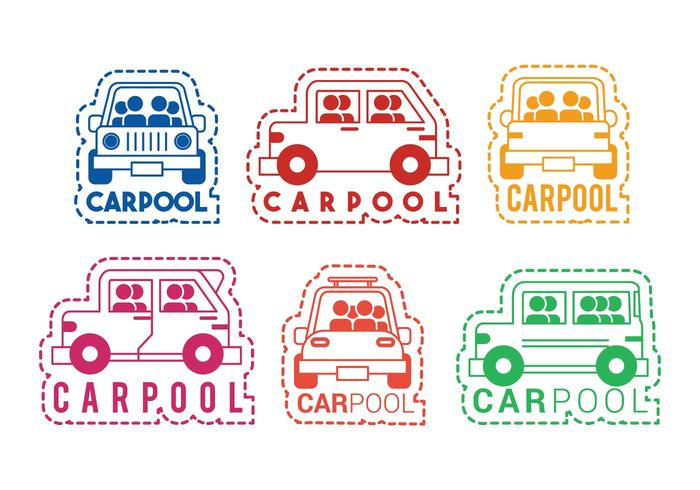 Carpool vector icon sticker set.