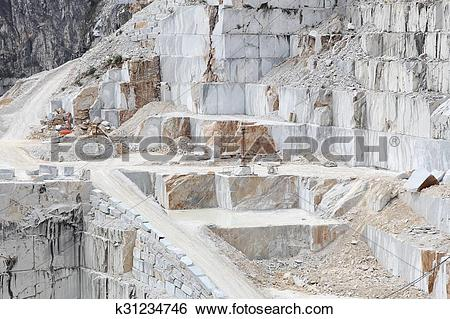 Stock Images of Carrara marble quarry k31234746.