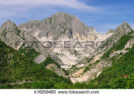Stock Photo of Carrara marble stone pit k16259483.