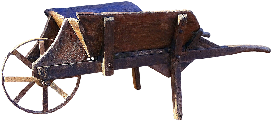Wheelbarrow, Old, Wooden Cart, Cart.