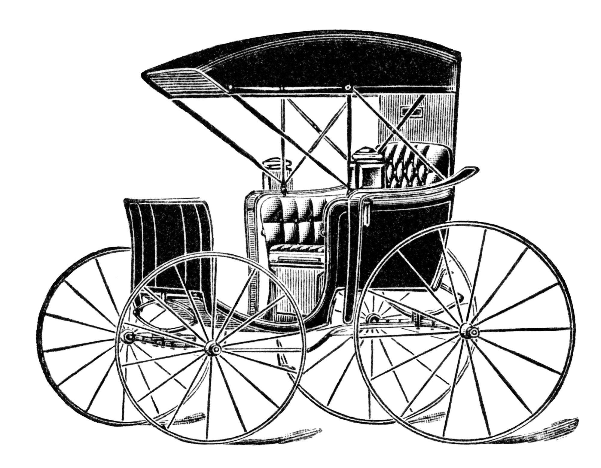 horse drawn carriage clip art, vintage transportation image, black.