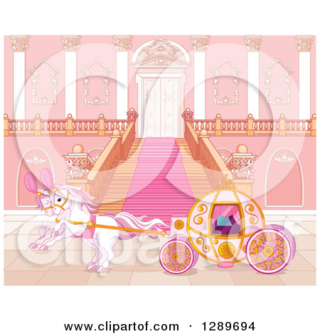 Clipart of a Horse Drawn Carriage at a Palace Entrance.