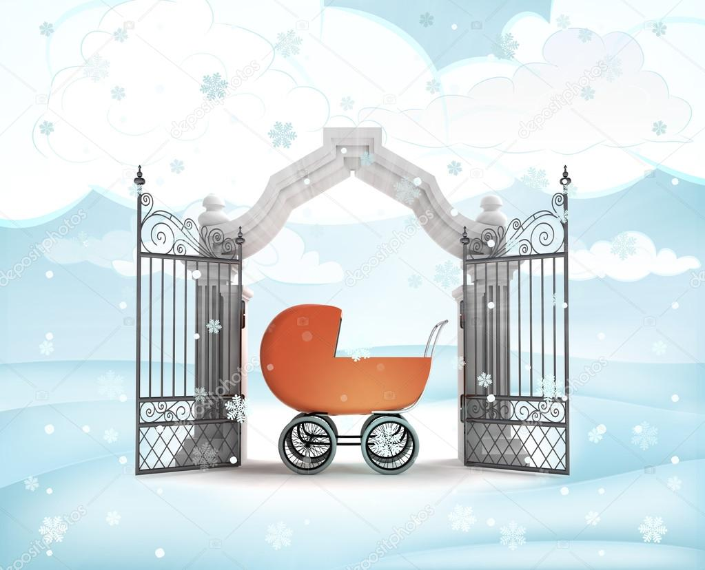 Xmas gate entrance with newborn in carriage in winter snowfall.