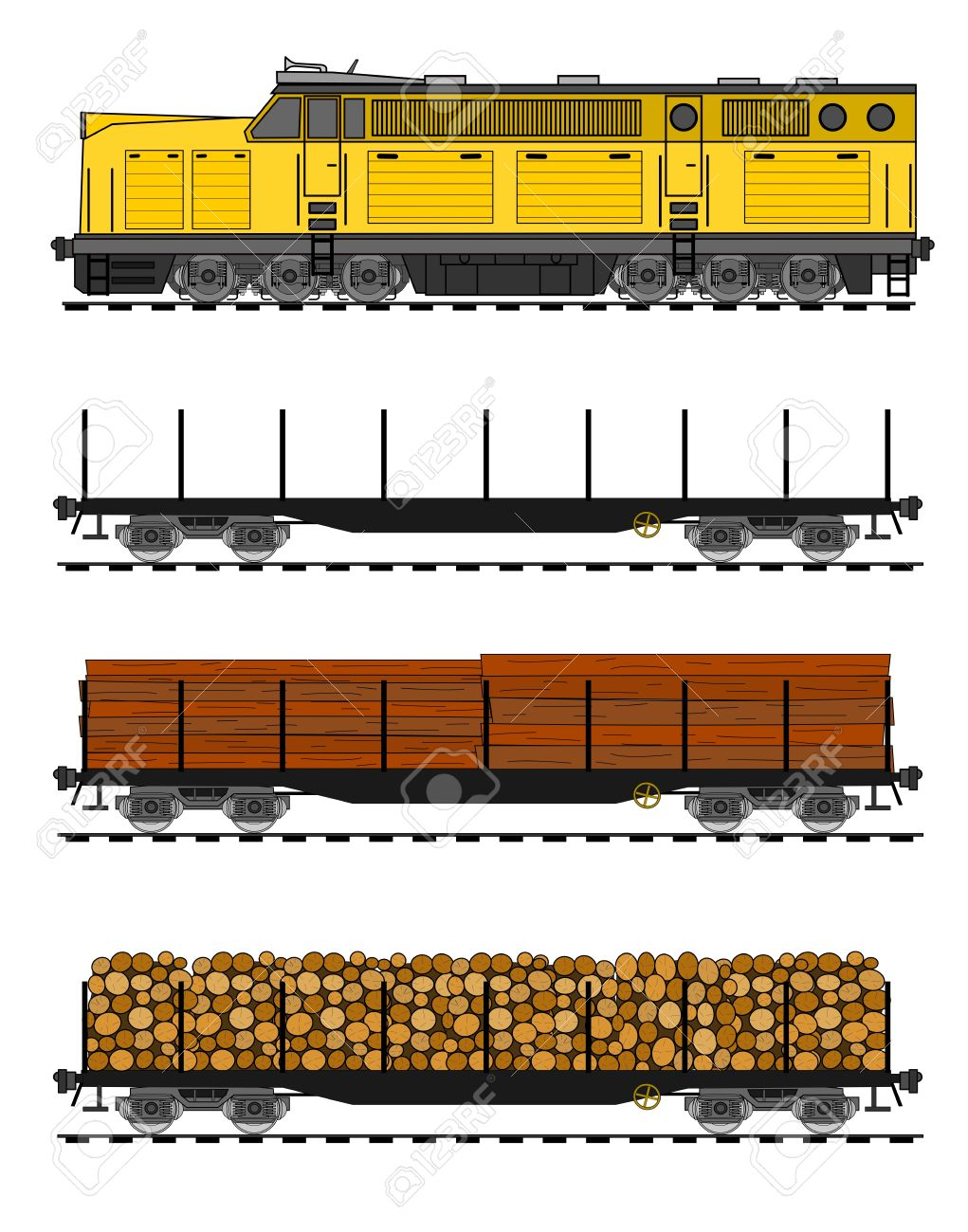 American Style Freight Train Loaded With Wood Trunks. Royalty Free.