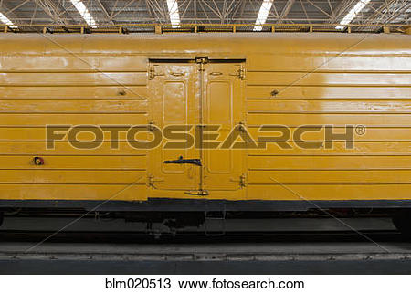 Stock Photo of A goods train carriage or freight truck blm020513.