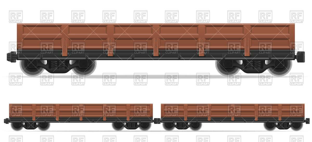 Empty railway flatcar.