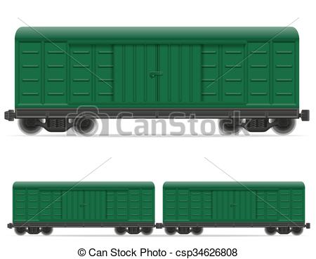Vector Clipart of railway carriage train vector illustration.