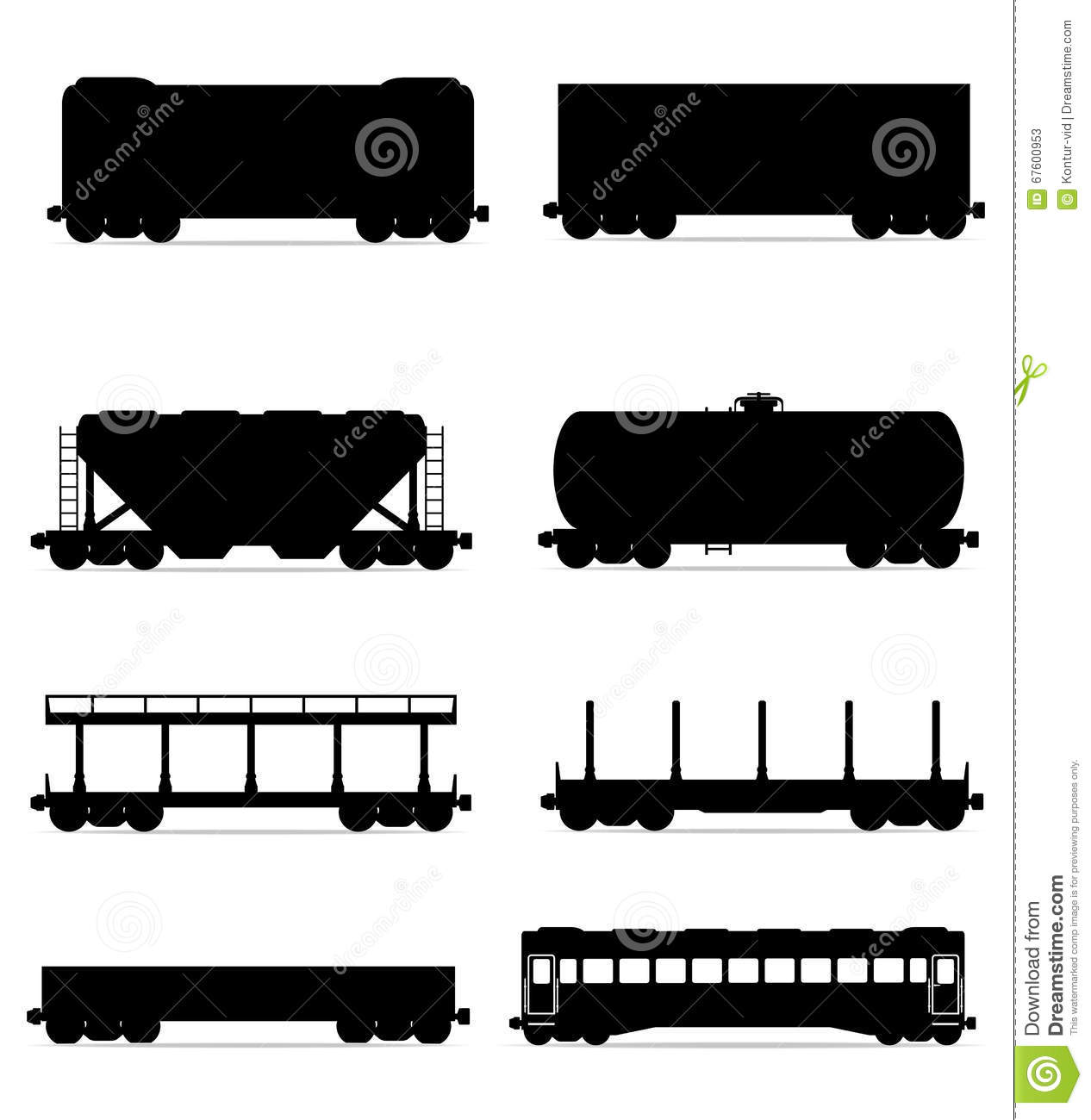 Set Icons Railway Carriage Train Black Outline Silhouette Vector.