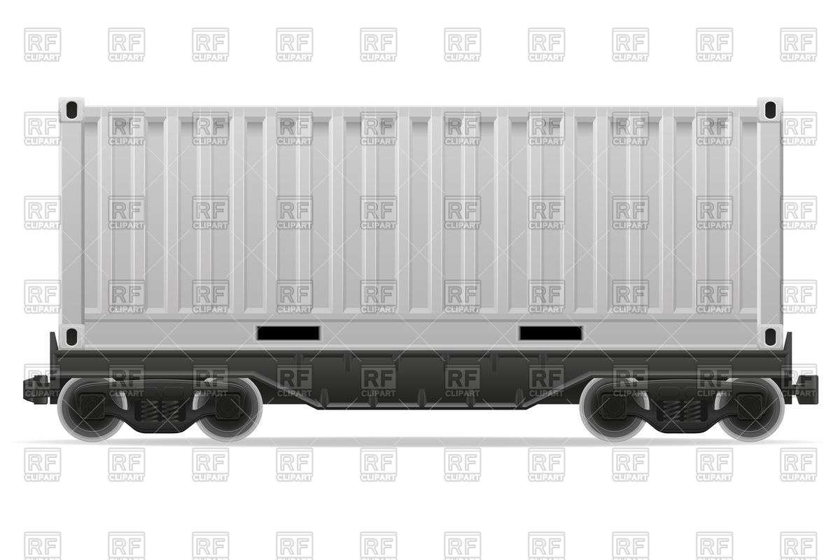 Railway cargo container carriage Vector Image #103200.