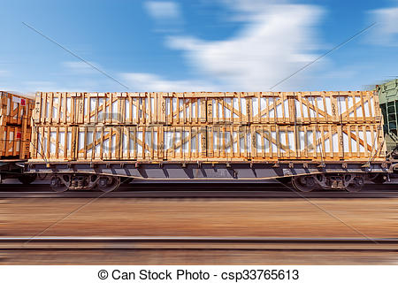 Stock Photography of Loaded freight carriage..