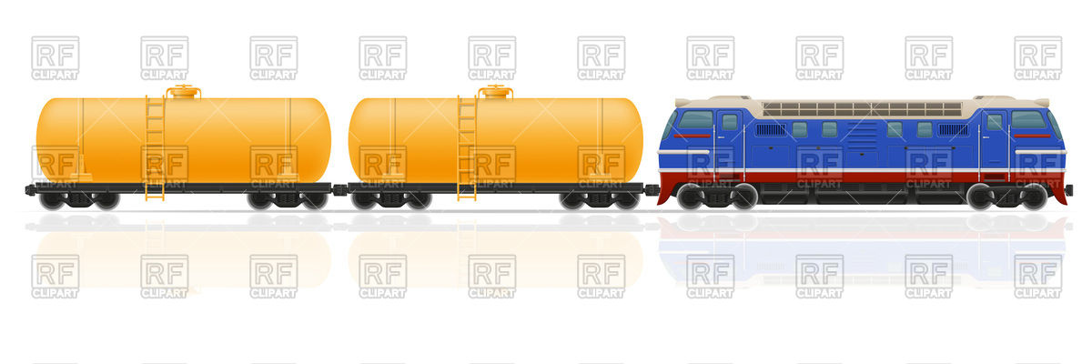 Train with locomotive and tank carriage Vector Image #104294.