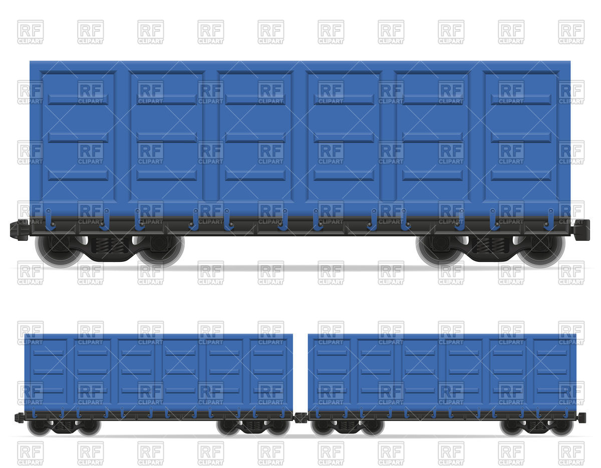 Railway blue cargo container carriage Vector Image #103203.