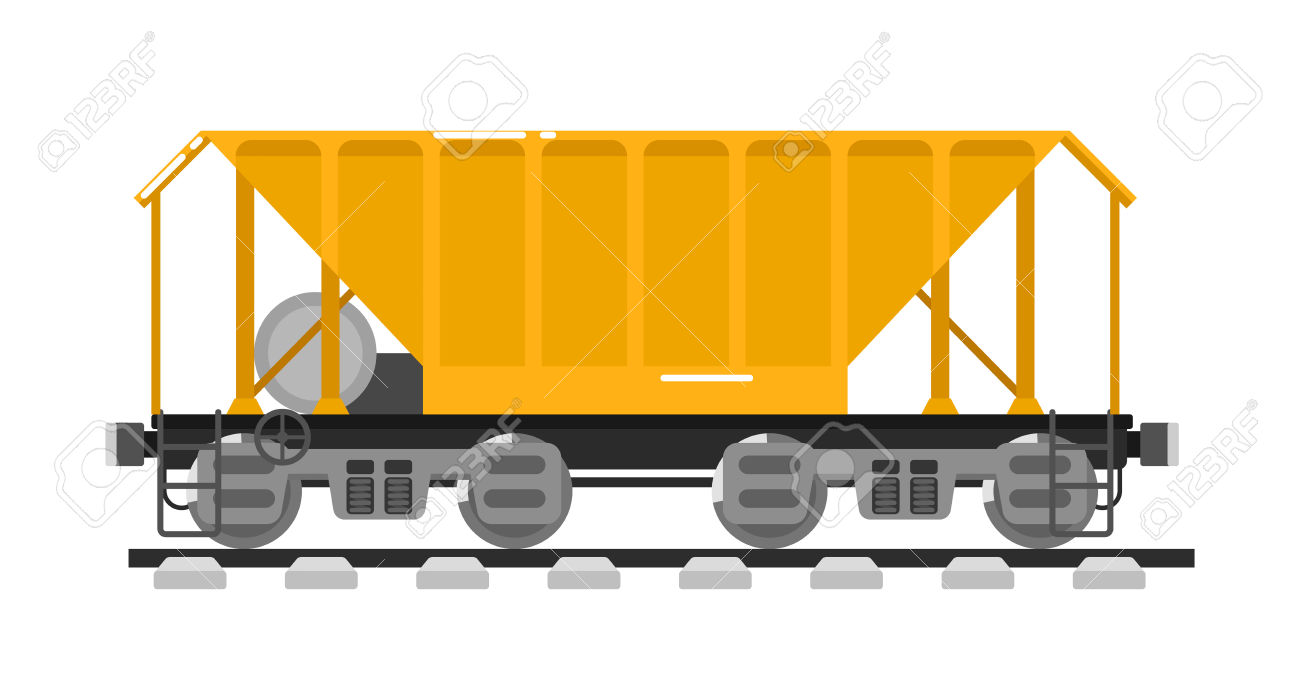 Railway Wagon For Mass Transit Bulk Cargo Isolated On White.