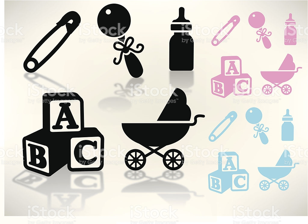 Baby Goods Rattle Carriage Bottle Blocks Safety Pin stock vector.