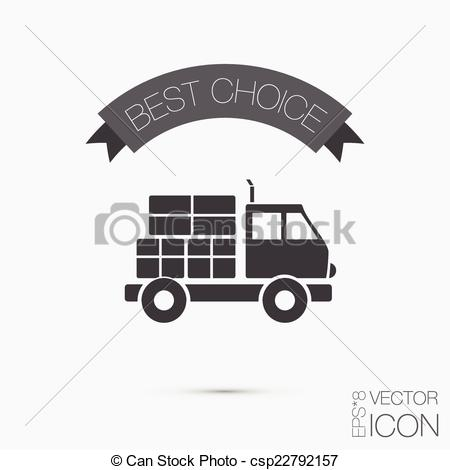 Clipart Vector of Truck. Logistic icon. symbol icon laden truck.
