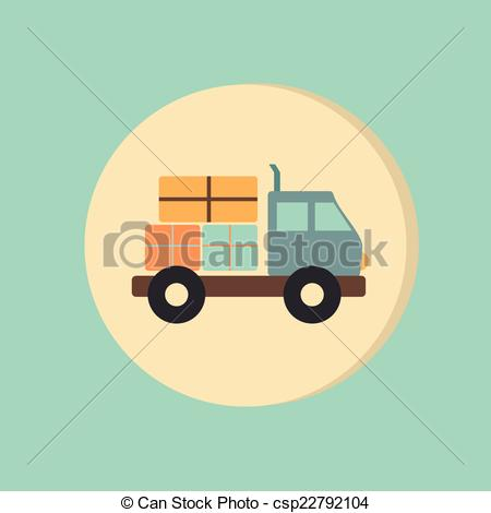 Vector Clipart of Truck. Logistic icon. symbol icon laden truck.