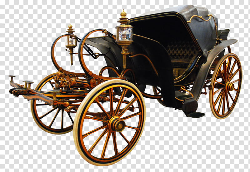 Carriage, black and brown horse coach transparent background PNG.
