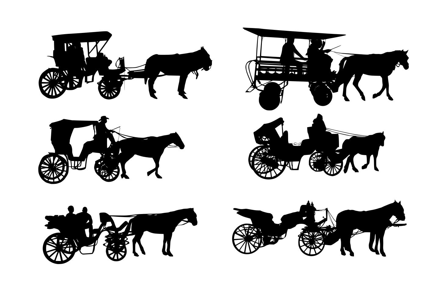 6 Horse and Carriage Silhouette (PNG Transparent).
