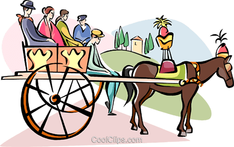 horse carriage ride in Palermo, Sicily Royalty Free Vector Clip.