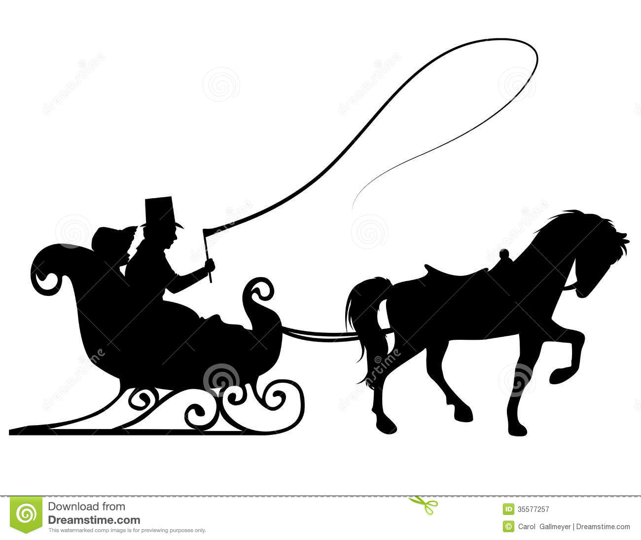 Horse And Buggy Silhouette Clipart.