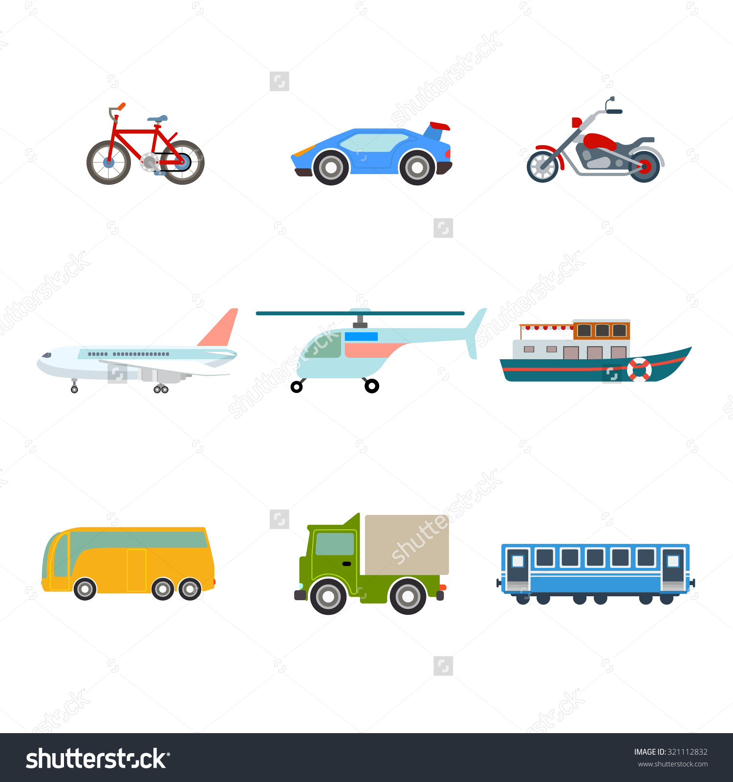 Flat Cartoon Various Transport Icon Set Stock Vector 321112832.