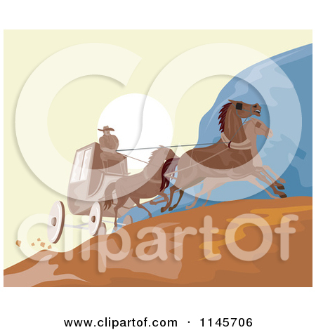 Clipart of a Cartoon Stagecoach Driver on a Carriage with Horses.