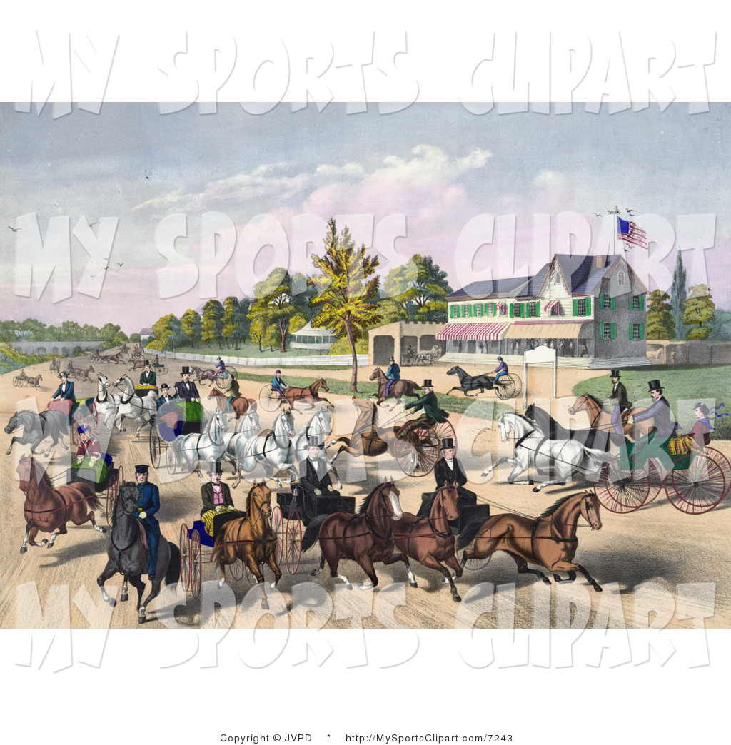 Sports Clip Art of a Busy Street of Horses and Carriages on a Road.