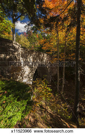 Stock Images of Carriage Road Bridge in Acadia National Park.